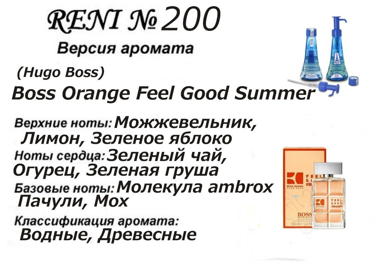 Духи Reni 200 - Boss Orange Feel Good Summer (Hugo Boss) - 100 мл