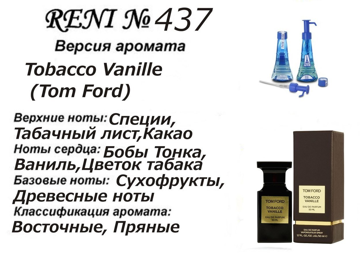 Духи Reni 437 - Tobacco Vanille (Tom Ford) - 100 мл
